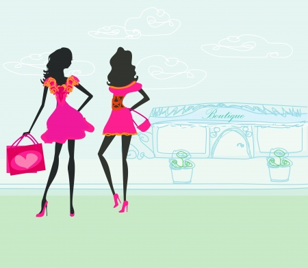 shoptalk: fashion silhouettes girls Shopping in the city  Illustration