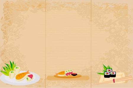 japanese food: template of traditional Japanese food menu