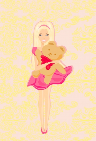 Cute little girl is hugging Teddy bear  Vector