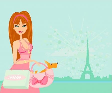 beautiful travel girl in Paris  Vector