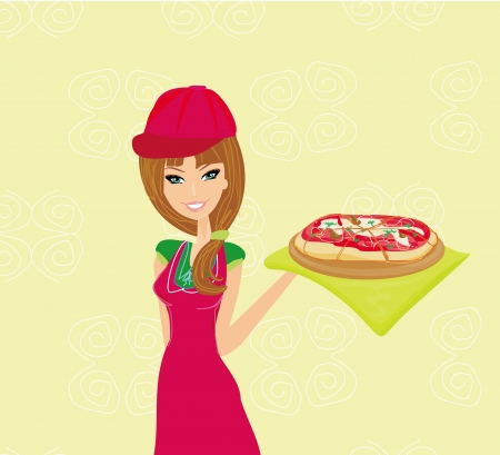 beautiful woman enjoys pizza  Vector