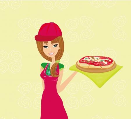 beautiful woman enjoys pizza Stock Vector - 14248109