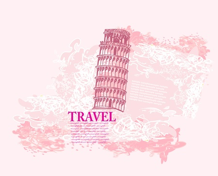 pisa tower grunge background  Vector