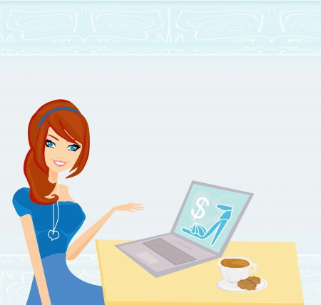 successful student: Shopping girl on-line