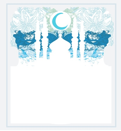 Ramadan background - mosque silhouette card