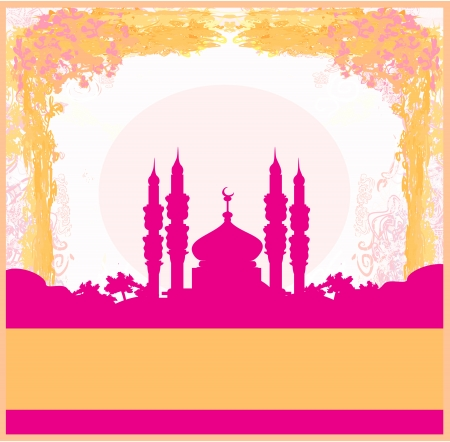 Ramadan background - mosque silhouette card Stock Vector - 14275376