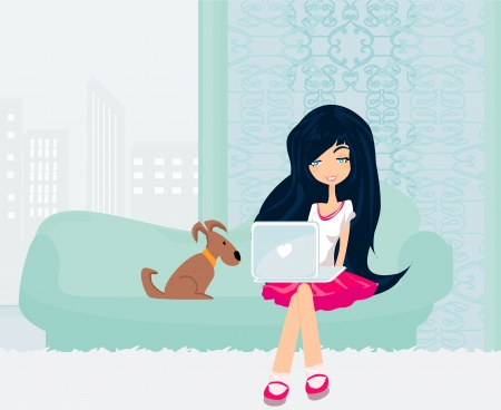 Online shopping - young smiling woman sitting with laptop computer  Ilustracja