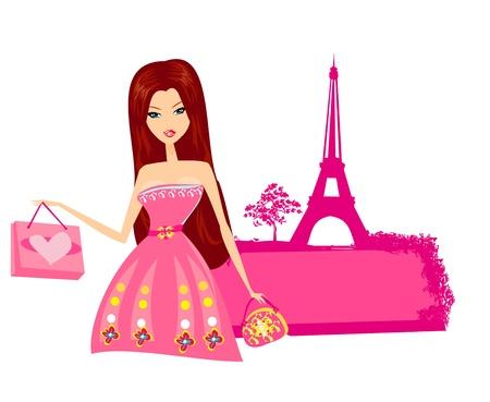 beautiful women Shopping in Paris  Vector