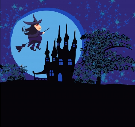 Witch flying on a broom in moonlight. Stock Vector - 14275252