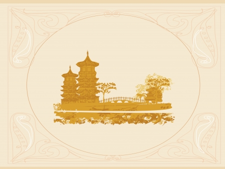 old paper with Asian Landscape  Stock Vector - 14304493