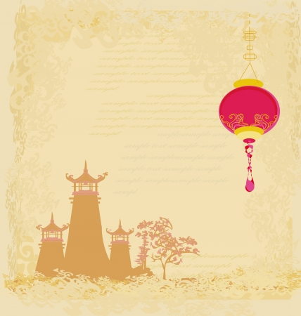 old paper with Asian Landscape and Chinese Lanterns - vintage japanese style background Stock Vector - 14304497