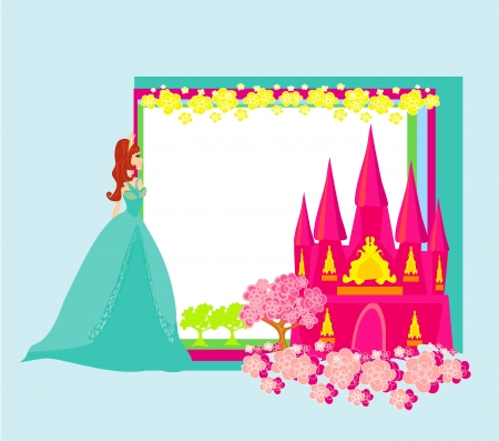 Beautiful young princess in front of her castle - abstract frame Vector