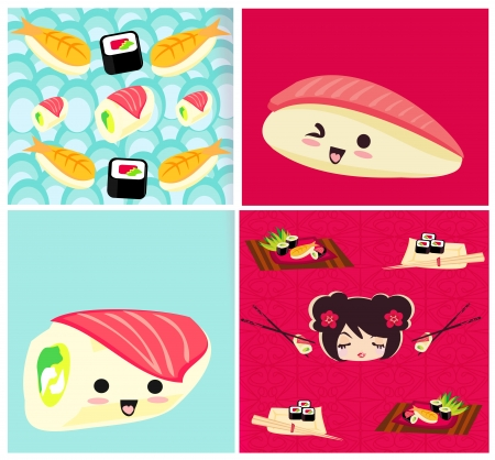 pattern with sushi  Vector
