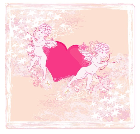 happy valentines day card with cupid Stock Vector - 14328069