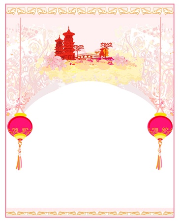 chinese temple: old paper with Asian Landscape and Chinese Lanterns - vintage japanese style background  Illustration