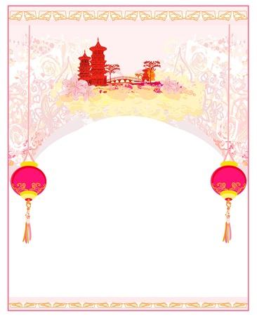 flor de sakura: papel viejo con Paisaje de Asia y linternas chinas - fondo vintage estilo japon�s