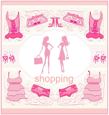 fashion silhouettes girls Shopping Illustration