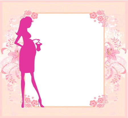 awaiting: Beautiful pregnant woman on shopping for her new baby- abstract background