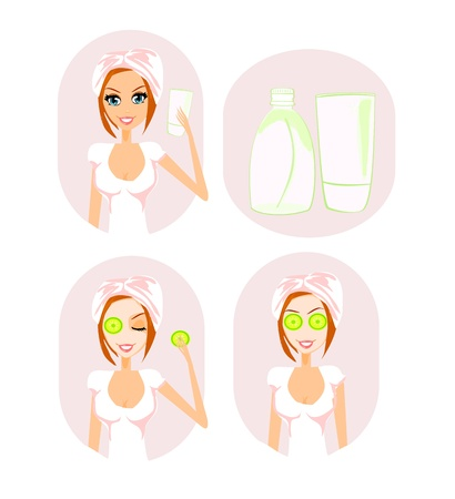 art product: Cute woman applying moisturizer vector illustration  Illustration