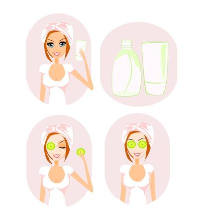 pepino caricatura: Mujer linda aplicar crema hidratante ilustraci�n vectorial
