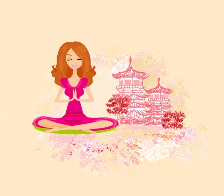 Yoga girl in lotus position  Stock Vector - 14372270