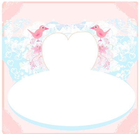 valentines day greeting card with 2 sweet love birds  Stock Vector - 14372296