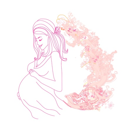 Beautiful pregnant girl Vector