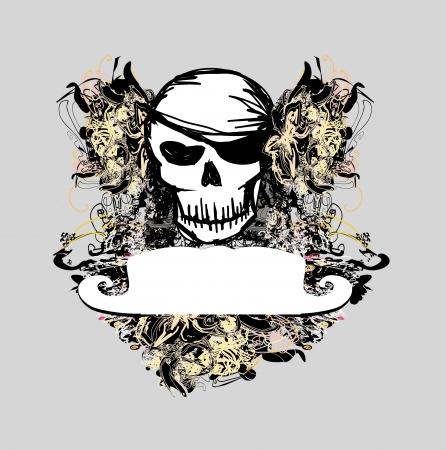 Skull Pirate - retro card Stock Vector - 14372300