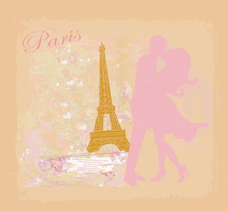 romantic hug: Romantic couple in Paris kissing near the Eiffel Tower Retro card