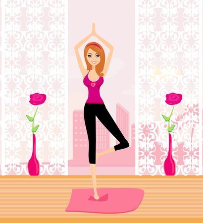 women yoga: woman in a traditional yoga pose vector illustration