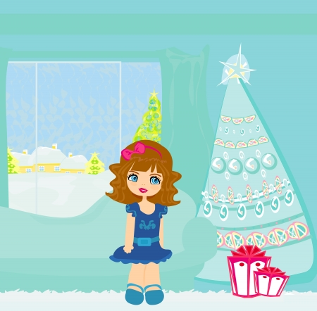 vector cartoon girl and christmas tree with gifts  Vector
