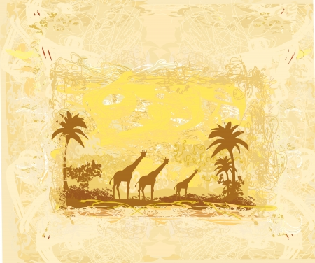 grunge background with African fauna and flora  Stock Vector - 14416968