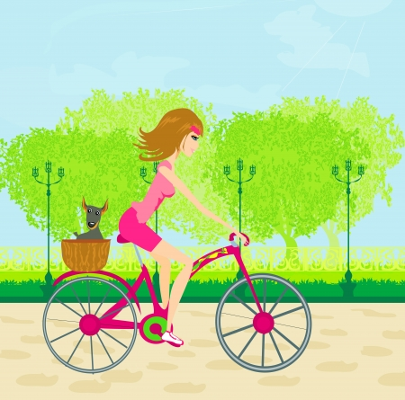 Happy Driving Bike with Cute Girl  Illustration