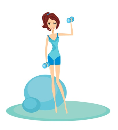 """pilates ball"": fit brunette woman exercising with two dumbbell weights on her hands  Illustration"