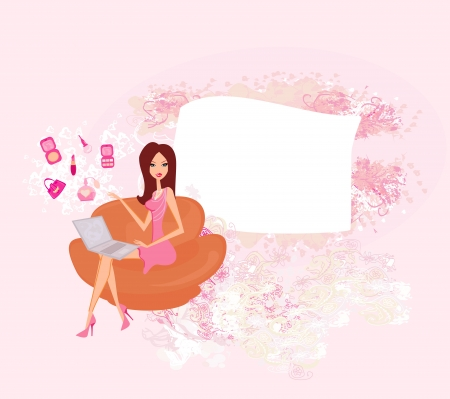 Online shopping girl Stock Vector - 14488429