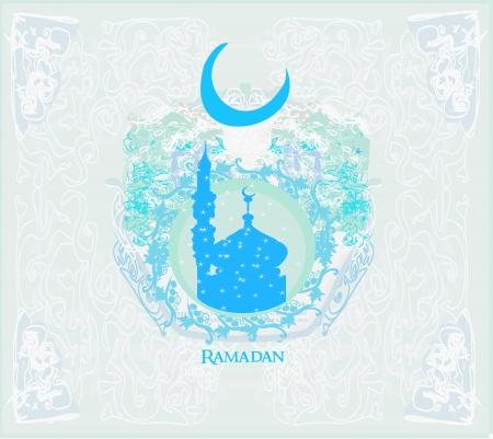 Ramadan background - mosque silhouette illustration card. Vector