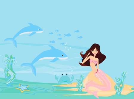 Illustration of a Beautiful mermaid Stock Vector - 14488407