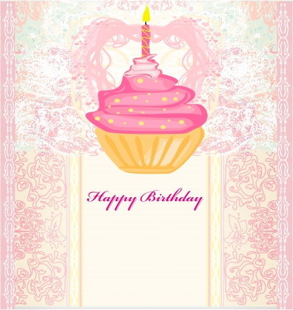 illustration of cute retro cupcakes card - Happy Birthday Card  Vector