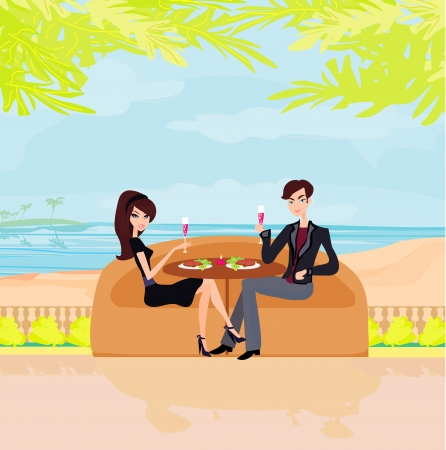 Happy young couple on a tropical beach  Vector