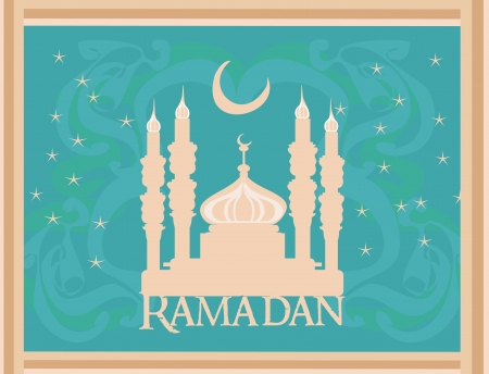 Ramadan background - mosque silhouette illustration card  Stock Vector - 14488497