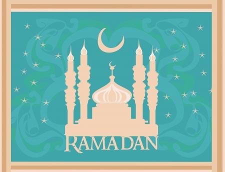 Ramadan background - mosque silhouette illustration card Stock Vector - 14488497