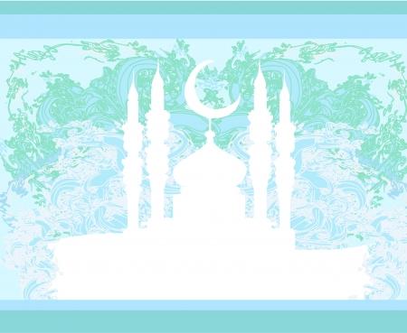 Ramadan background - mosque silhouette illustration card  Vector