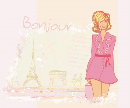 beautiful women Shopping in Paris - illustration card  Vector