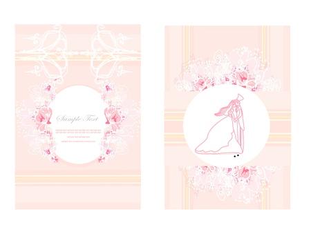 elegant wedding invitation card set  Vector