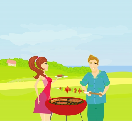 blanket fish: Barbecue Party - cook and girl