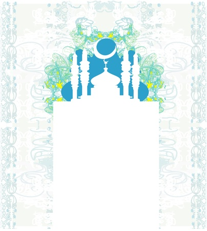 Ramadan background - mosque silhouette illustration card  Vector