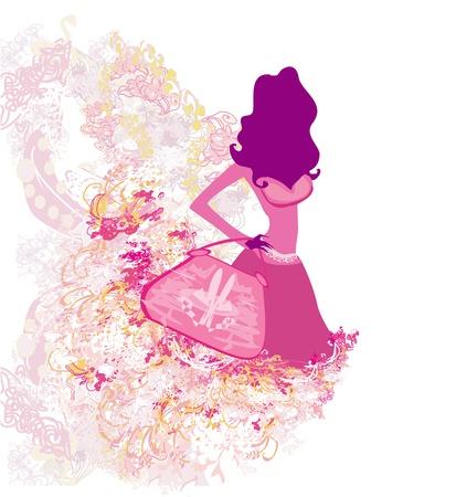 fashion girl Shopping illustration