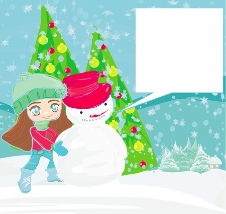 Little girl and snowman card  Stock Vector - 14488688