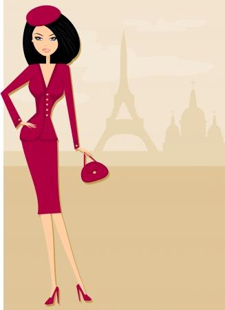 beautiful women Shopping in Paris - illustration card  Vector