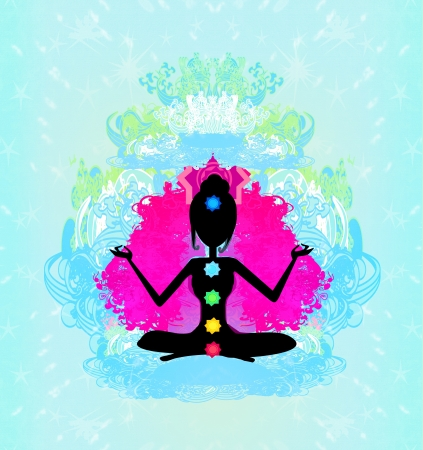 yogi aura: Yoga lotus pose  Padmasana with colored chakra points
